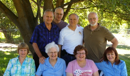 "The 7 ""kids"" and Mom at her 90th birthday reunion"